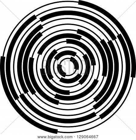 Abstract Radial, Concentric Circles, Rings.