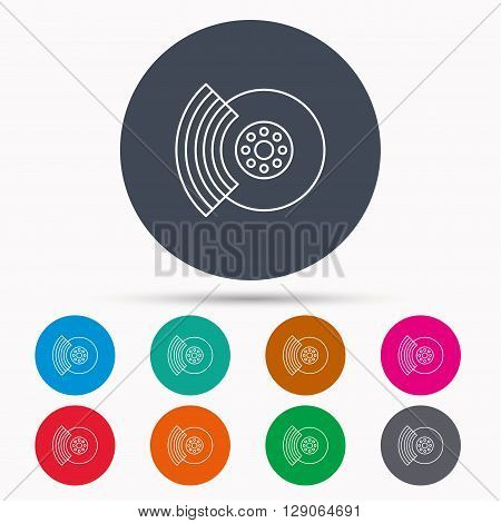 Brakes icon. Auto disk repair sign. Icons in colour circle buttons. Vector