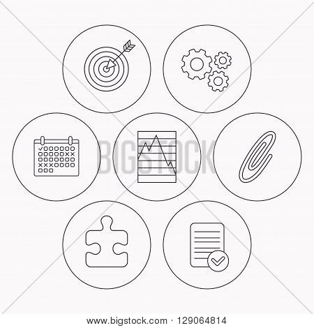 Puzzle, graph charts and target icons. Safety pin linear sign. Check file, calendar and cogwheel icons. Vector