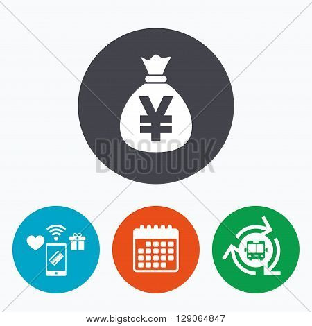 Money bag sign icon. Yen JPY currency symbol. Mobile payments, calendar and wifi icons. Bus shuttle.