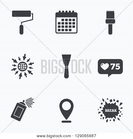 Calendar, like counter and go to web icons. Paint roller, brush icons. Spray can and Spatula signs. Wall repair tool and painting symbol. Location pointer.