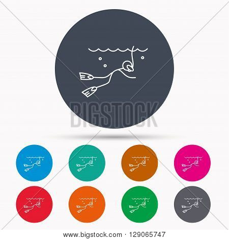 Diving icon. Swimming underwater with tube sign. Scuba diving symbol. Icons in colour circle buttons. Vector