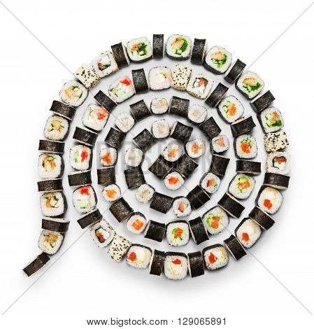 Japanese food restaurant, sushi maki gunkan roll plate or platter set. Maki Sushi rolls with salmon and avocado. Sushi isolated at white background. Top view, flat lay.