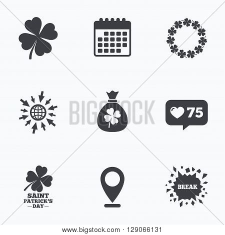 Calendar, like counter and go to web icons. Saint Patrick day icons. Money bag with clover sign. Wreath of quatrefoil clovers. Symbol of good luck. Location pointer.