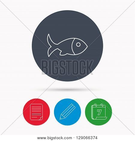 Fish with fin icon. Seafood sign. Vegetarian food symbol. Calendar, pencil or edit and document file signs. Vector