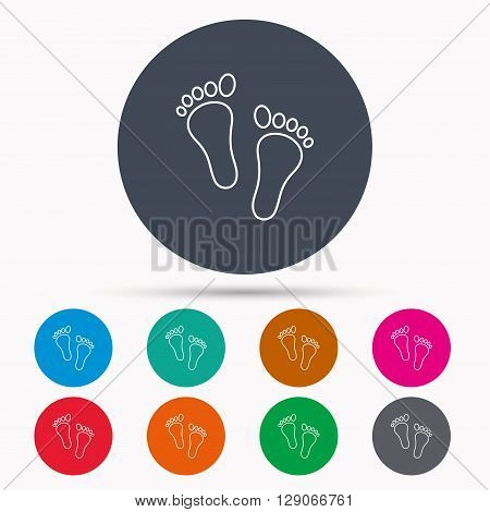 Baby footprints icon. Child feet sign. Newborn steps symbol. Icons in colour circle buttons. Vector