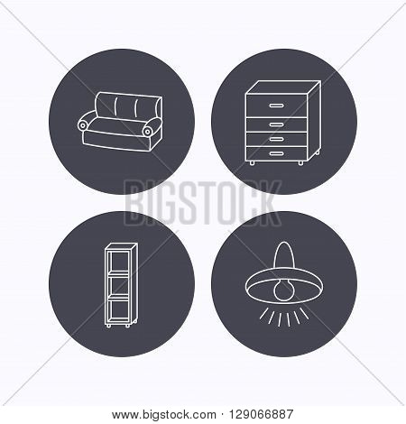 Sofa, ceiling lamp and shelving icons. Chest of drawers linear sign. Flat icons in circle buttons on white background. Vector