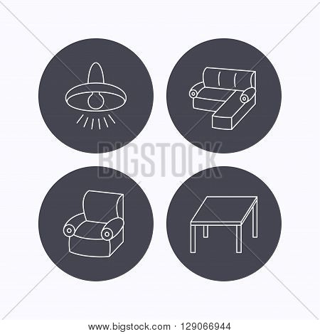 Corner sofa, table and armchair icons. Ceiling lamp linear signs. Flat icons in circle buttons on white background. Vector