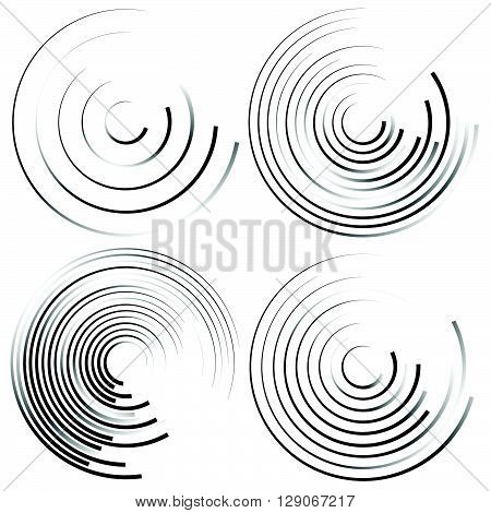 Abstract Spiral Shapes - Spirally, Whirling Circular Element Set.