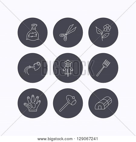 Hammer, hothouse and watering can icons. Bag of fertilizer, scissors and flower linear signs. Hammer, scarecrow and pitchfork flat line icons. Flat icons in circle buttons on white background. Vector