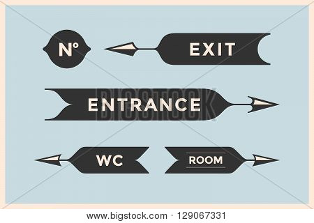 Set of vintage arrows and banners with inscription Entrance, Exit, Room and WC. Design elements in retro style for navigation sign on color background. Vector Illustration