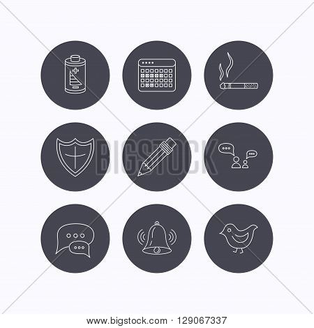 Battery, pencil and protection shield icons. Dialog chat, bell rings and vacation calendar linear signs. Bird, smoking allowed icons. Flat icons in circle buttons on white background. Vector