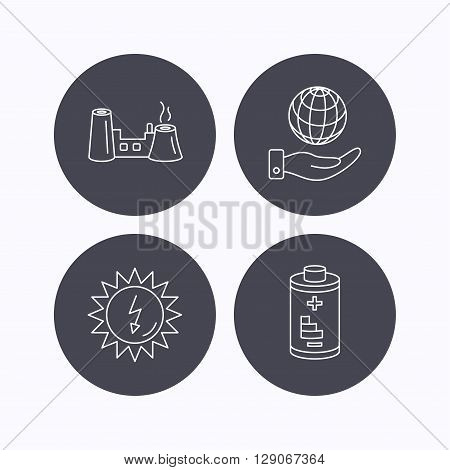 Save planet, factory and battery icons. Solar energy linear sign. Flat icons in circle buttons on white background. Vector