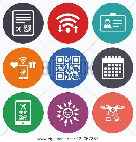 Wifi, mobile payments and drones icons. QR scan code in smartphone icon. Boarding pass flight sign. Identity ID card badge symbol. Calendar symbol.
