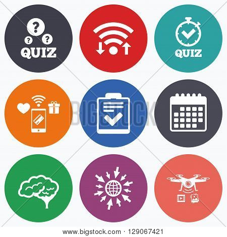 Wifi, mobile payments and drones icons. Quiz icons. Human brain think. Checklist and stopwatch timer symbol. Survey poll or questionnaire feedback form sign. Calendar symbol.