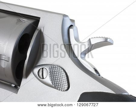 Hammer down on a revolver that is isolated on white