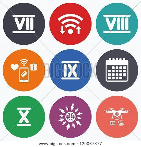 Wifi, mobile payments and drones icons. Roman numeral icons. 7, 8, 9 and 10 digit characters. Ancient Rome numeric system. Calendar symbol.