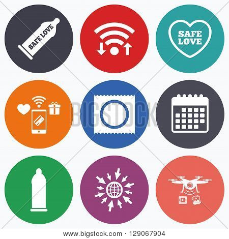 Wifi, mobile payments and drones icons. Safe sex love icons. Condom in package symbol. Fertilization or insemination. Heart sign. Calendar symbol.