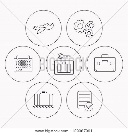 Baggage, luggage security and airplane icons. Briefcase linear sign. Check file, calendar and cogwheel icons. Vector
