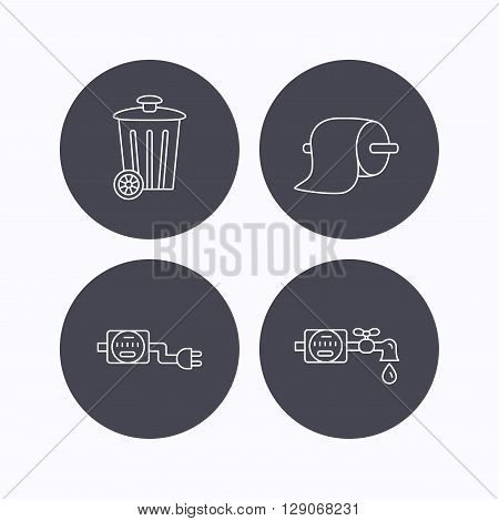 Trash bin, electricity and water counter icons. Toiler paper linear sign. Flat icons in circle buttons on white background. Vector