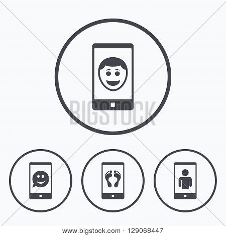 Selfie smile face icon. Smartphone video call symbol. Self feet or legs photo. Icons in circles.