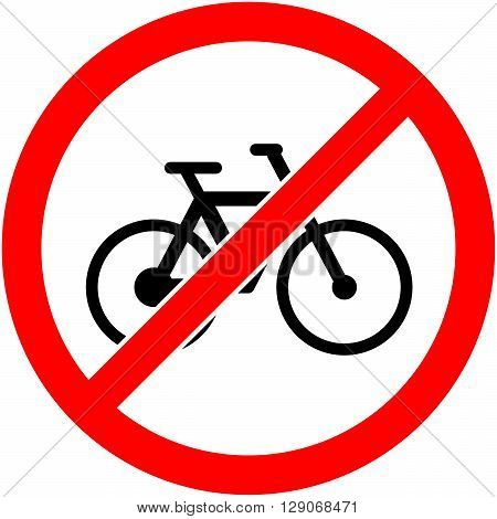 No bicycle bike prohibited symbol. Sign indicating the prohibition or rule. Warning and forbidden. Flat design. Vector illustration. Easy to use and edit. EPS10.