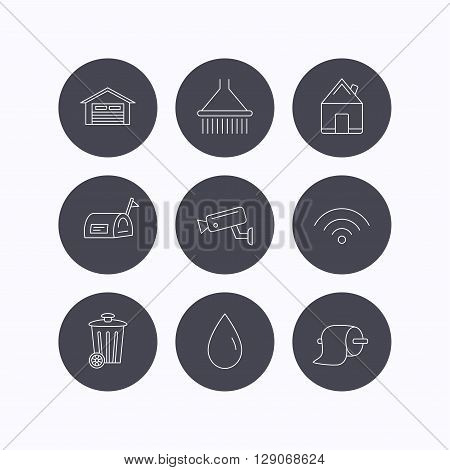 Wi-fi, video monitoring and real estate icons. Toilet paper, shower and water drop linear signs. Trash, garage flat line icons. Flat icons in circle buttons on white background. Vector