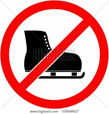 No ice skate ice-skate ice-skating and skating prohibited symbol. Sign indicating the prohibition or rule. Warning and forbidden. Flat design. Vector illustration. Easy to use and edit. EPS10.