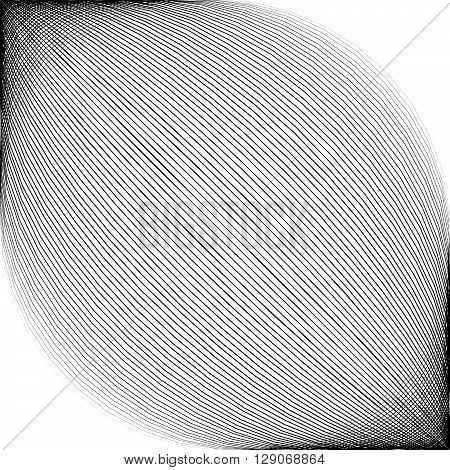 Diagonal Lines With Spherical Distortion Abstract Monochromatic, Geometric Image In Square Format