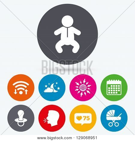Wifi, like counter and calendar icons. Moon and stars symbol. Baby infants icon. Buggy and dummy signs. Child pacifier and pram stroller. Human talk, go to web.