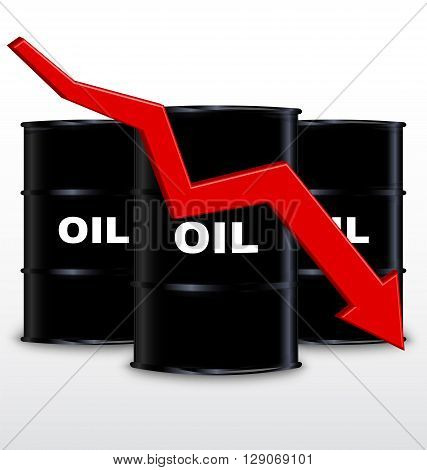 Oil Barrels And Red Arrow Chart On White Background Down Trend