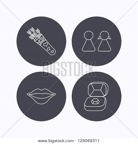 Couple, kiss lips and jewelry icons. Valentine amour arrows linear sign. Flat icons in circle buttons on white background. Vector