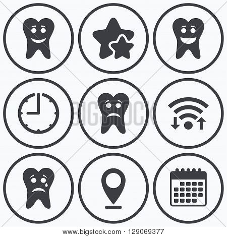 Clock, wifi and stars icons. Tooth smile face icons. Happy, sad, cry signs. Happy smiley chat symbol. Sadness depression and crying signs. Calendar symbol.