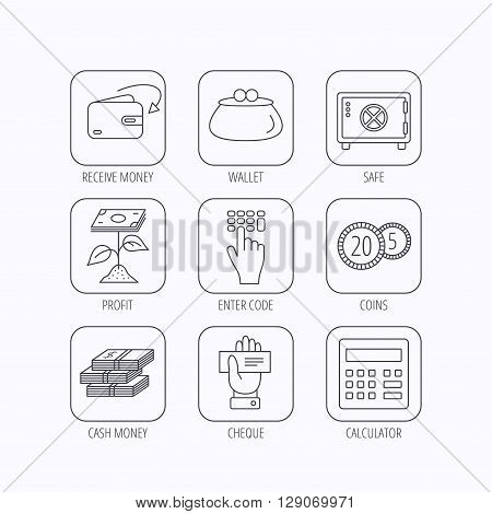 Cash money, safe box and calculator icons. Safe box, cheque and dollar usd linear signs. Profit investment, wallet and coins icons. Flat linear icons in squares on white background. Vector