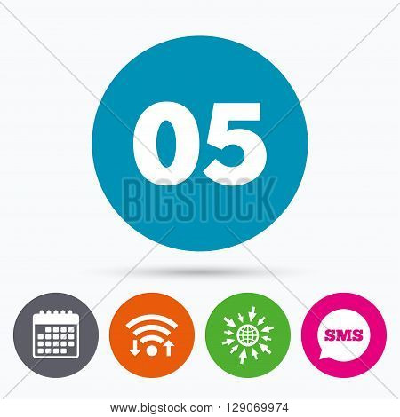 Wifi, Sms and calendar icons. Fifth step sign. Loading process symbol. Step five. Go to web globe.
