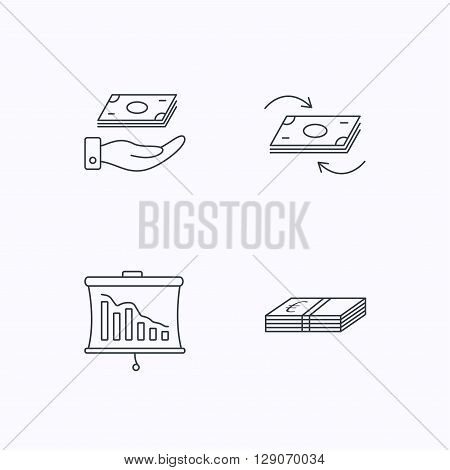 Banking, cash money and statistics icons. Money flow, save money linear sign. Flat linear icons on white background. Vector