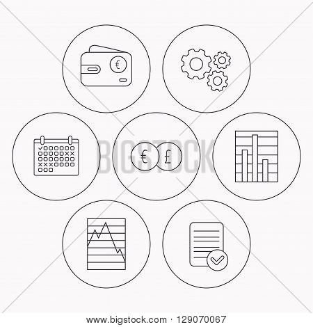Currency exchange, chart and euro wallet icons. Statistics graph linear signs. Check file, calendar and cogwheel icons. Vector
