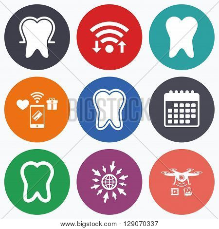 Wifi, mobile payments and drones icons. Tooth enamel protection icons. Dental toothpaste care signs. Healthy teeth sign. Calendar symbol.