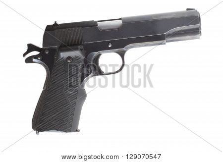 Semi automatic handgun that is isolated on a white background