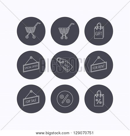 Shopping cart, gift bag and sale coupon icons. Special offer label linear signs. Discount icon. Flat icons in circle buttons on white background. Vector