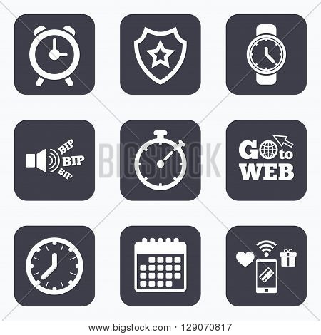 Mobile payments, wifi and calendar icons. Mechanical clock time icons. Stopwatch timer symbol. Wake up alarm sign. Go to web symbol.