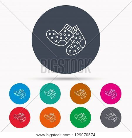 Socks icon. Baby underwear sign. Clothes symbol. Icons in colour circle buttons. Vector