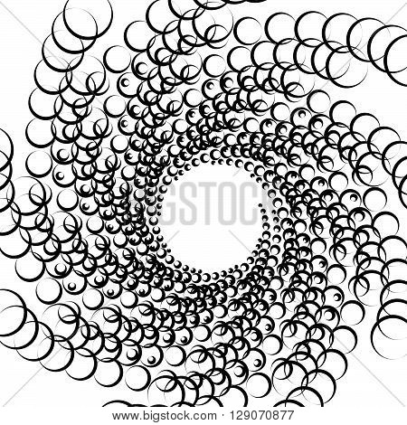Abstract Spirally Monochrome Element With Overlapping Circles