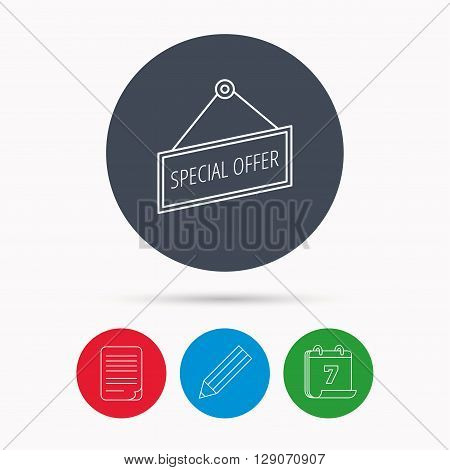 Special offer icon. Advertising banner tag sign. Calendar, pencil or edit and document file signs. Vector