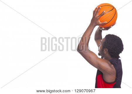 African basketball player with a ball, isolated on white background