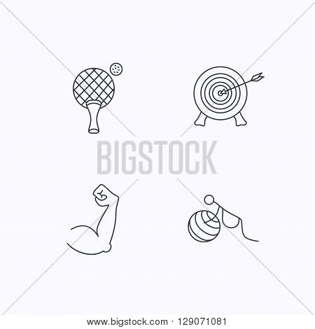 Target, table tennis and biceps icons. Gymnastics for pregnant linear sign. Flat linear icons on white background. Vector