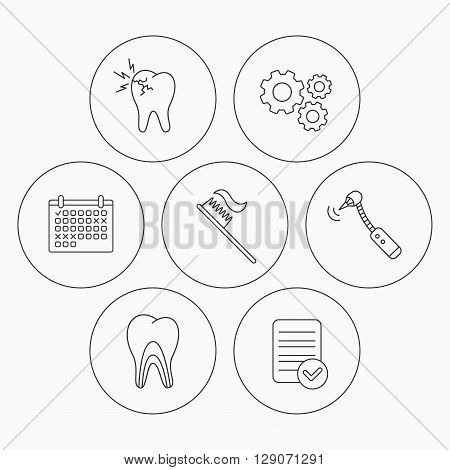 Toothache, drilling tool and toothbrush icons. Dentinal tubules linear sign. Check file, calendar and cogwheel icons. Vector