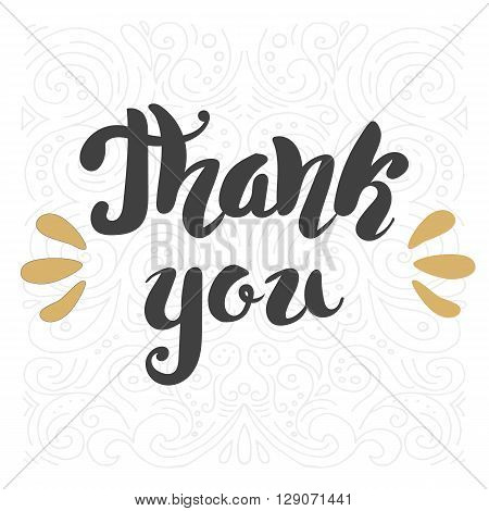 Thank you dark brush pen Hand lettering vector illustration.