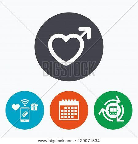 Male sign icon. Male sex heart button. Mobile payments, calendar and wifi icons. Bus shuttle.