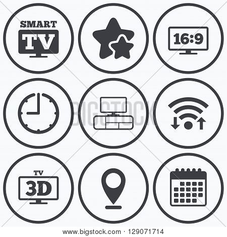 Clock, wifi and stars icons. Smart TV mode icon. Aspect ratio 16:9 widescreen symbol. 3D Television and TV table signs. Calendar symbol.